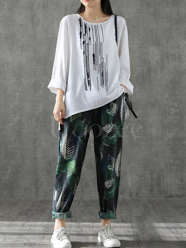 Vintage Loose Embroidered Long-Sleeve T-Shirt