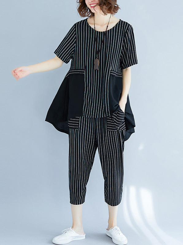Fashion Loose Plus Size Stripes Suits