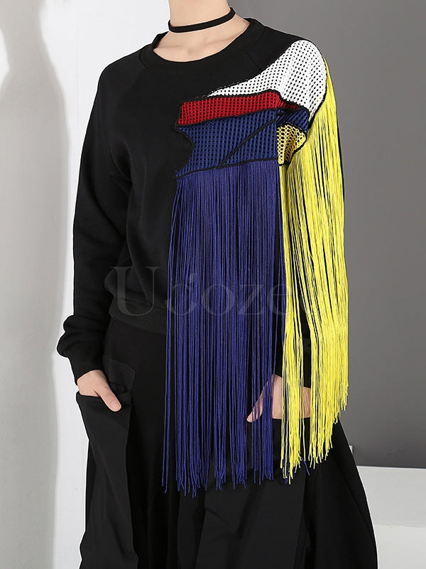 Stitching Color Tassel Round Neck Sweatshirt