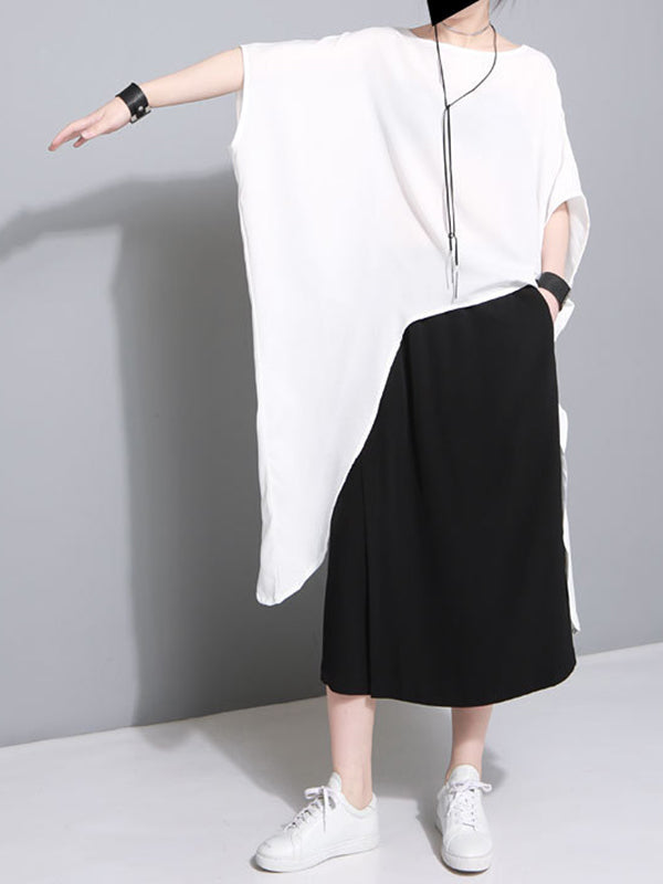 Loose Batwing Lace-up Long T-shirt