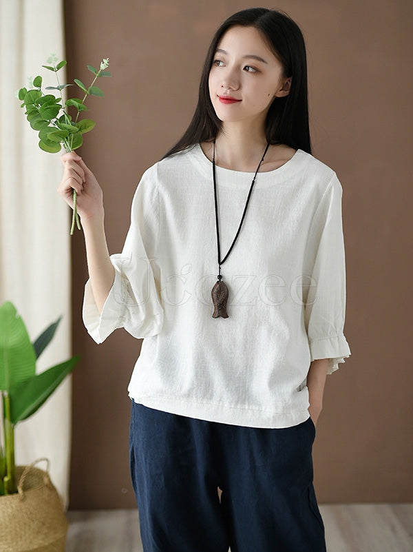 Loose Solid Round-neck Ramie T-shirt