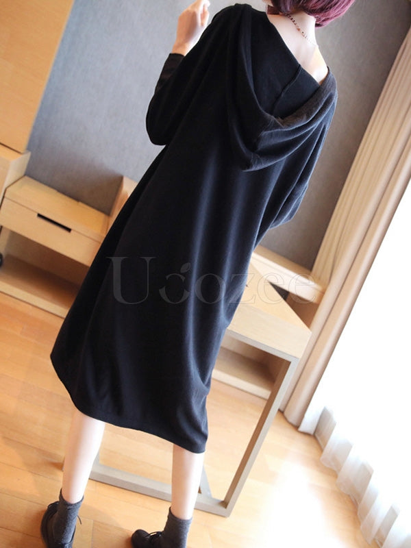Loose Solid Knitting Hoodie Midi Dress
