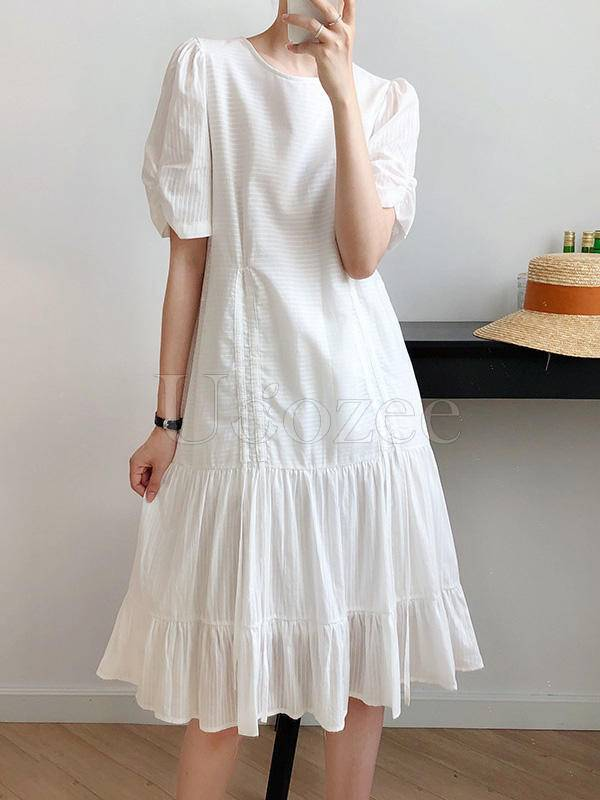 White Drawstring Pleated Puff Sleeve Dress