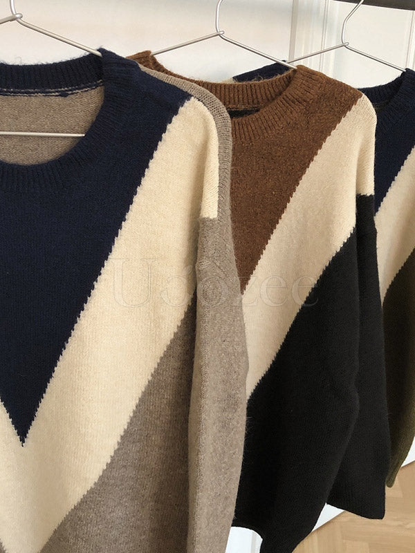Retro Contrast Color Round-Neck Knit Sweater
