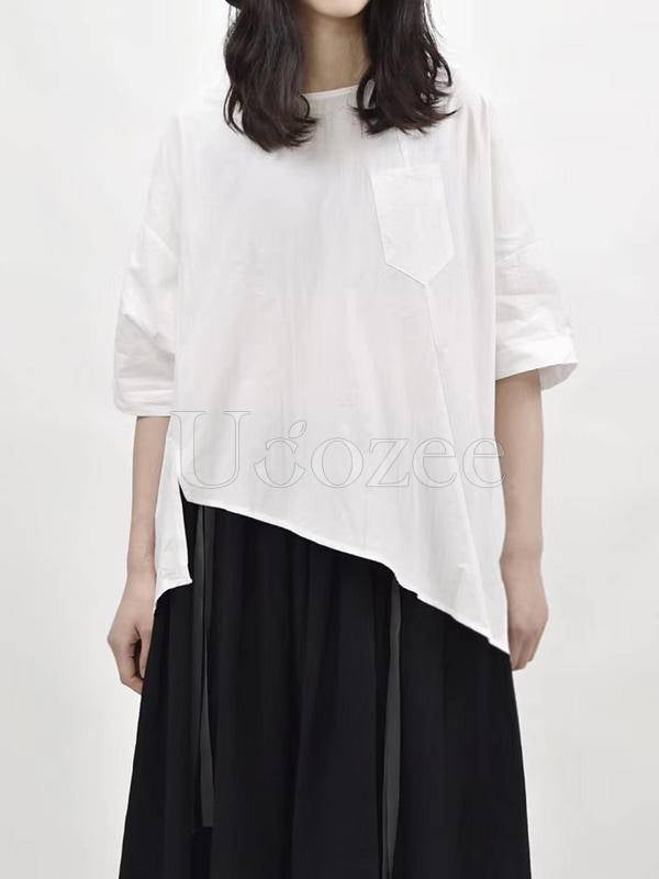 Original Split-Joint Solid Cropped T-Shirts Tops