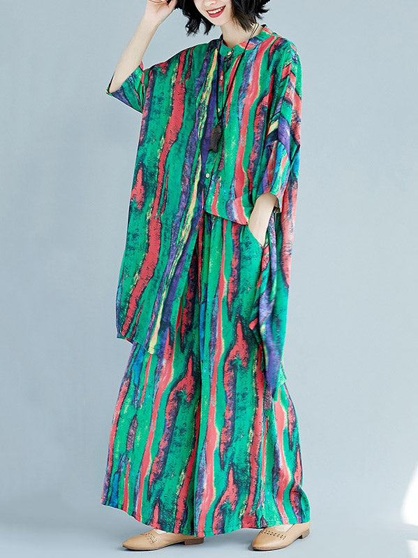 Chiffon Colorful Striped Print Stand Collar Long Blouse+Pants Suits