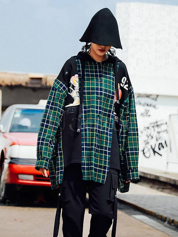 Loose Plaid Cropped Print Splicing Hood Outwear