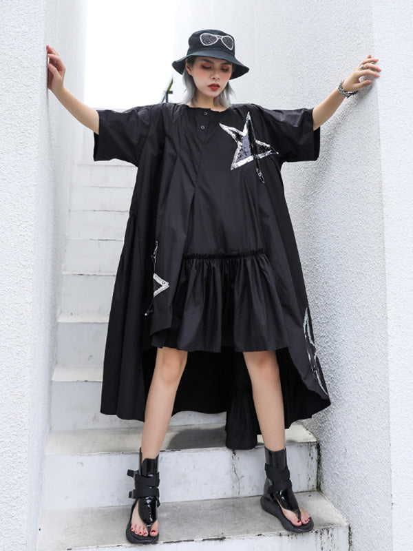Oversize Asymmetric Stars Dress