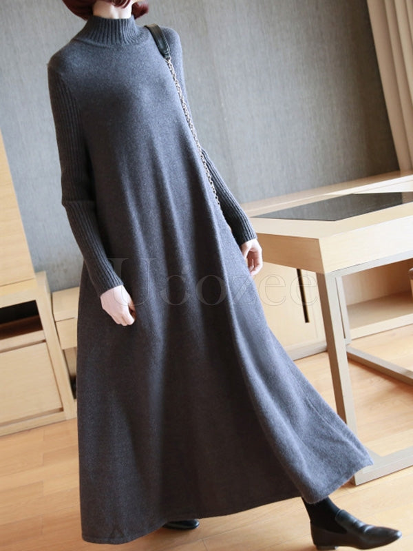 Loose A-Line Long Knitting Dress