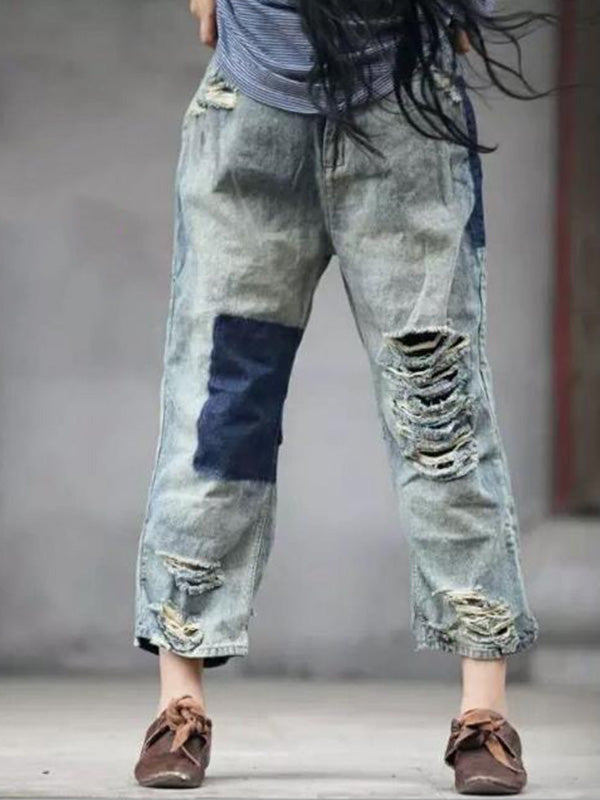 Ordinary Cool Ripped Trousers Jeans