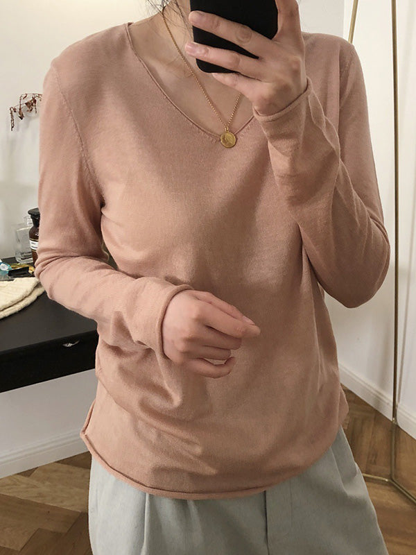V-neck Knitting Loose Solid Shirt Top