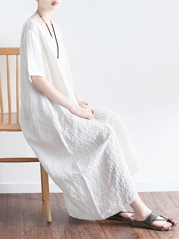 Summer Jacquard Split-joint Split-front Long Dress
