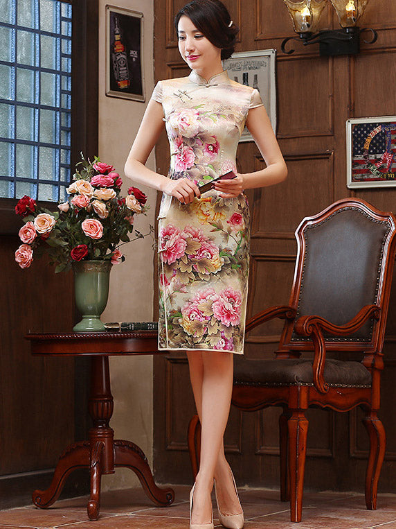 Peony-print Split-side Short Cheongsam Dress