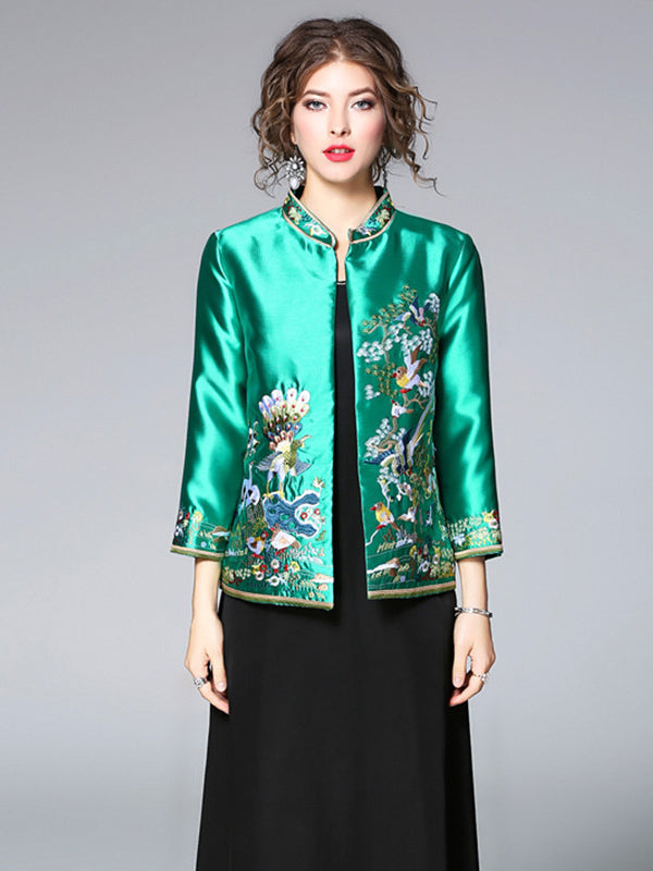36f0c7bb7 Green Embroidered Cheongsam Tops Outwears – uoozee
