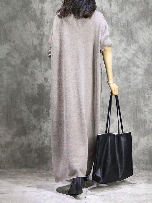 Vintage Knitting Ramie Cotton Split-joint High-neck Long Dress
