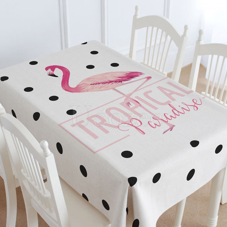 Point & Red-crowned Crane Printed Casual Tablecloth