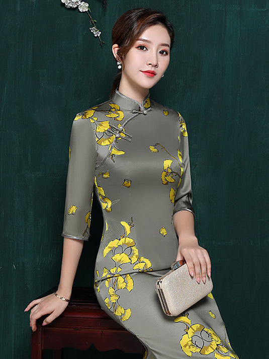 5bab8be25 Mulberry Silk Floral Split-side Stand-collar Long Cheongsam ...
