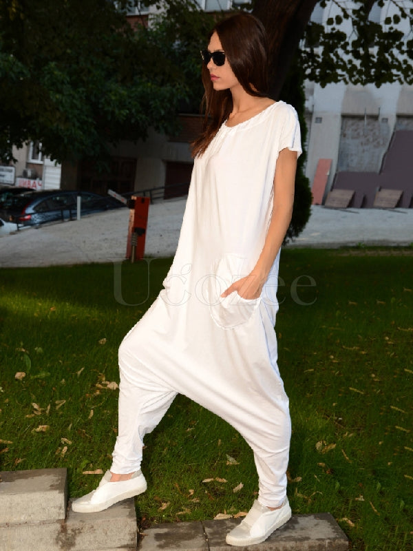 Simple Solid Round-Neck Jumpsuits