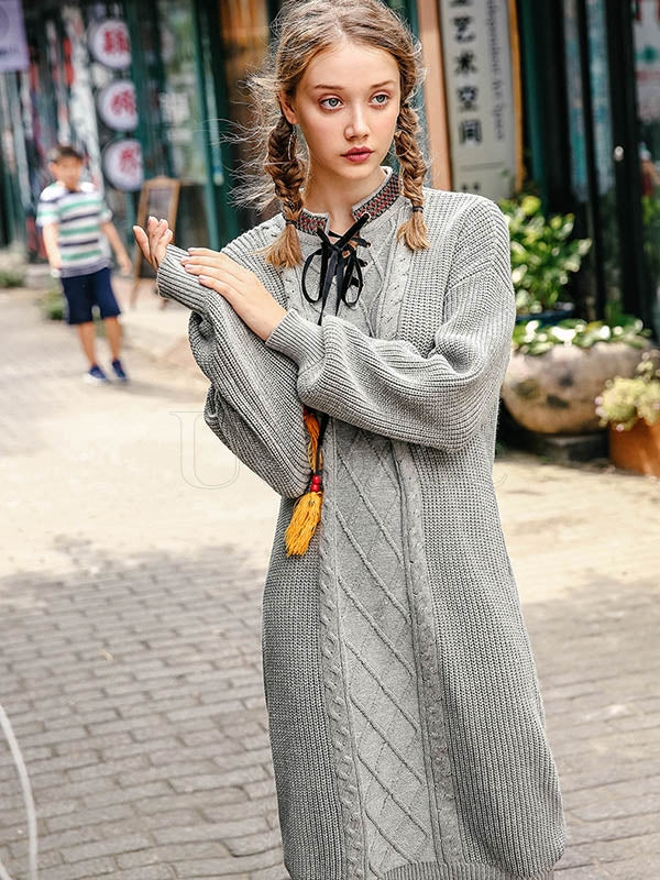 Liebo Tassel Drawstring Loose Mid-Length Knitting Dress