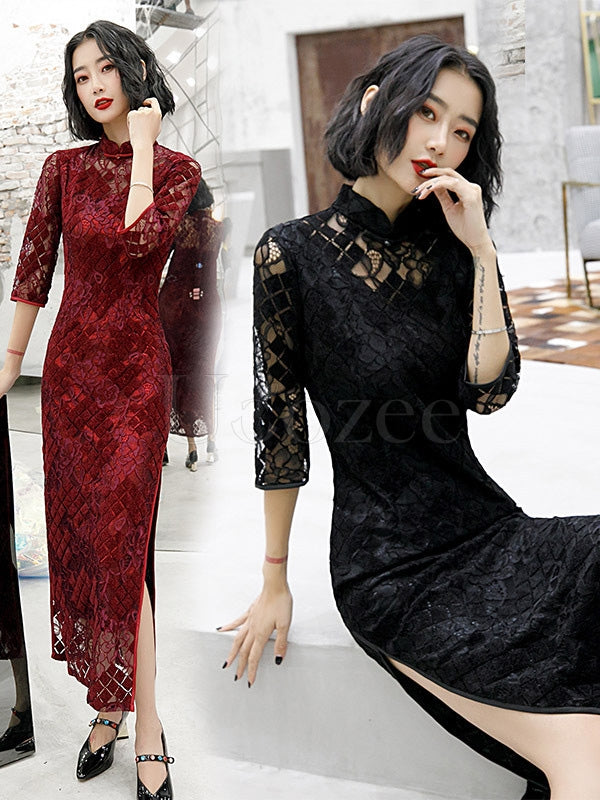 Vintage Lace Hollow Improved Long Cheongsams