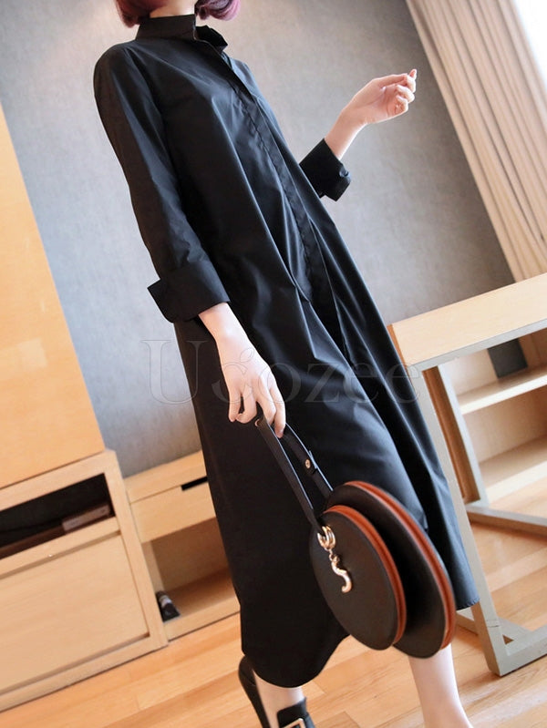 Loose Solid Color Mid-Length Shirt Dress
