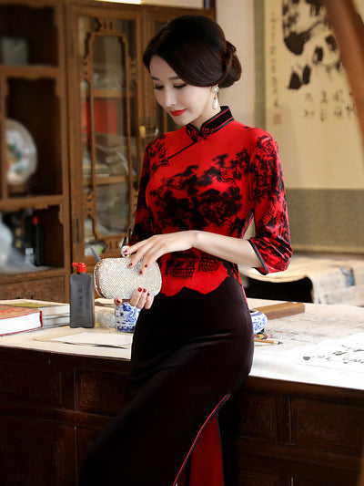 Red&Black Velvet Split-joint Long Cheongsam