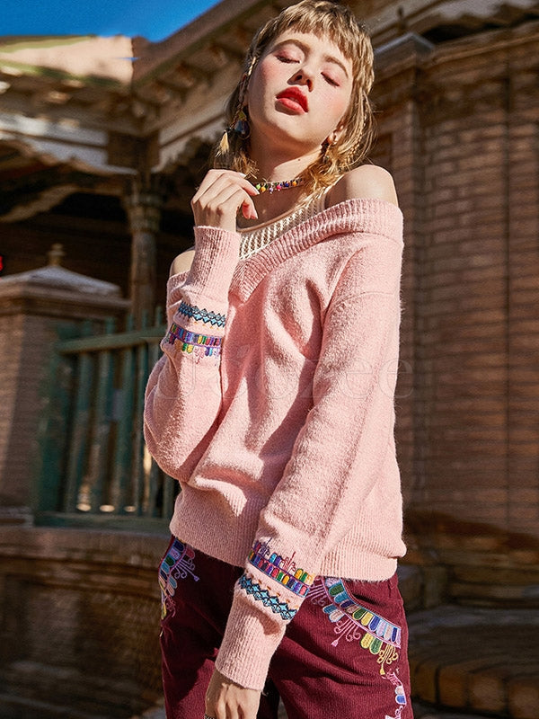 Liebo Off-The-Shoulder Embroidered Knitting Sweater