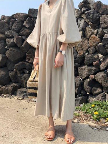 Loose Elegant Puff Sleeves Long Dress