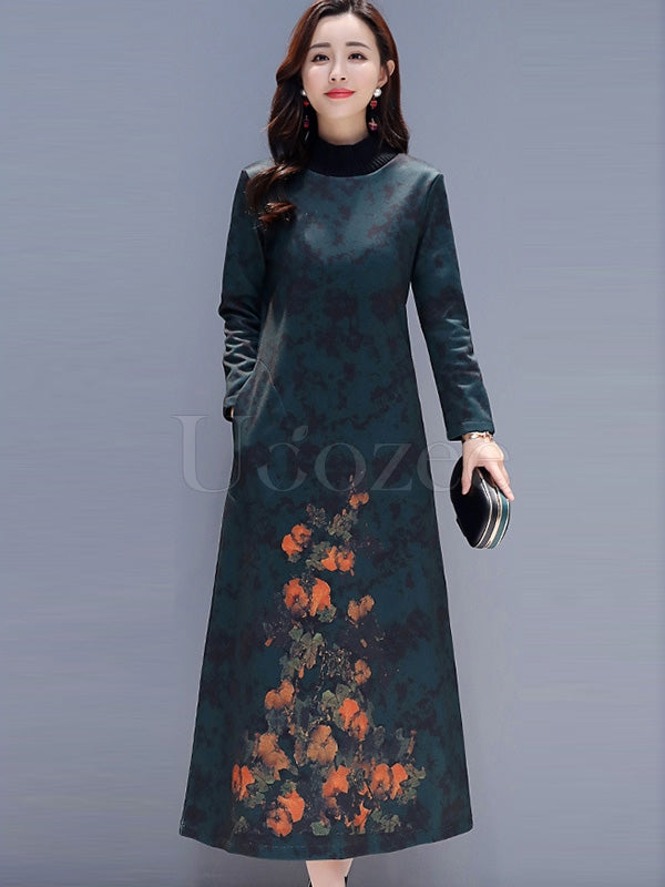National Style Thickening Round Neck Long Dress