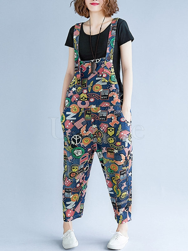 Original Floral Printed Spaghetti-neck Jumpsuits