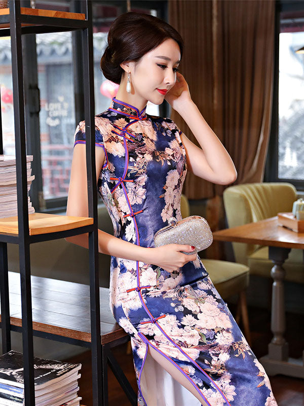 Flower Print Long Cheongsam Dress