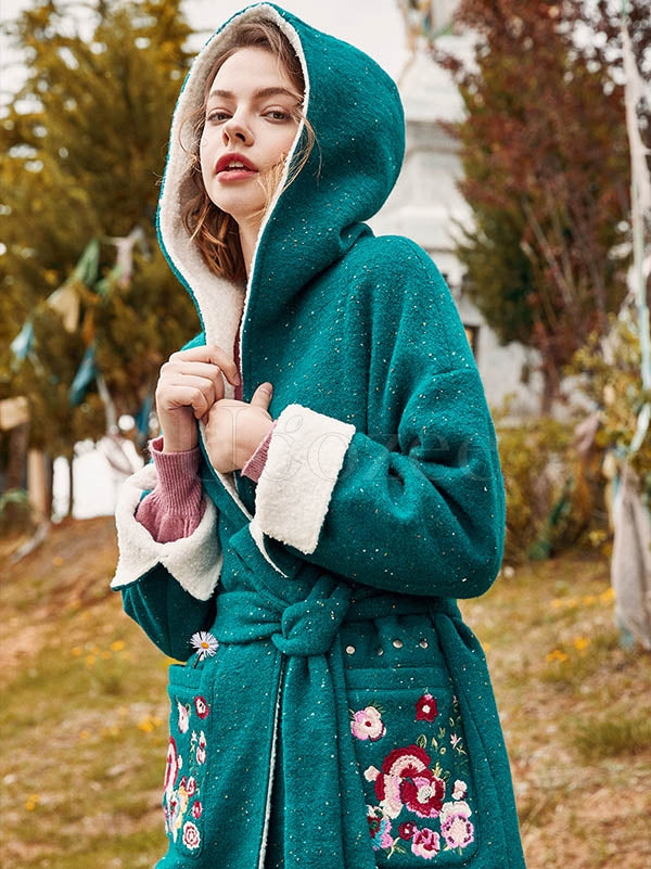 Liebo Embroidered Cuff Split Woolen Hood Long Coat
