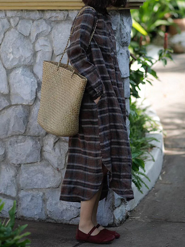 Loose Comfortable Plaid Linen Long Dress