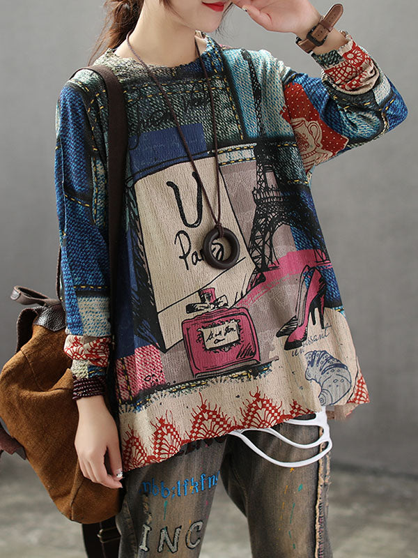 Retro Picture Printed Light Sweater