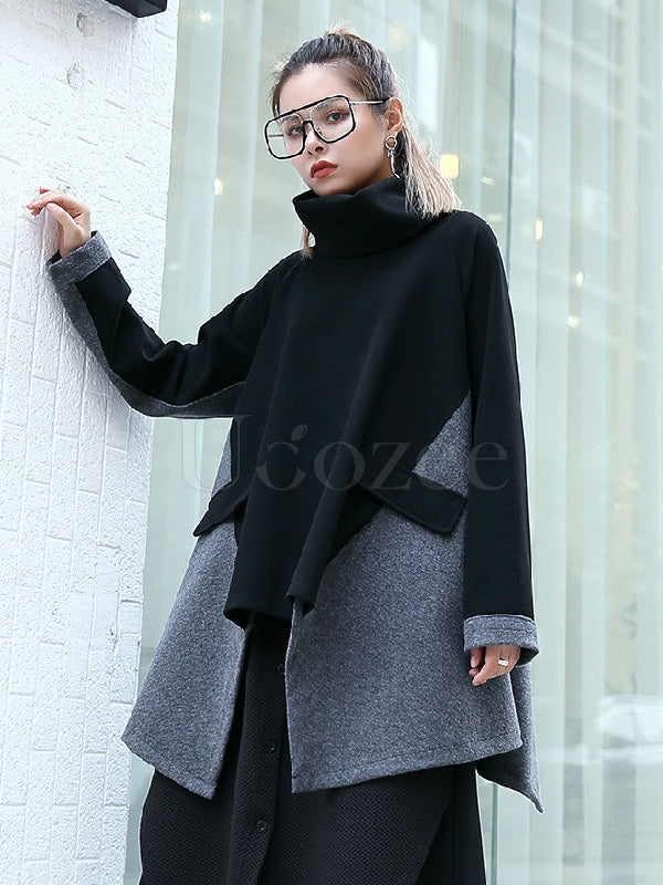 Loose Cropped Split-joint Patch Cloak Outwears