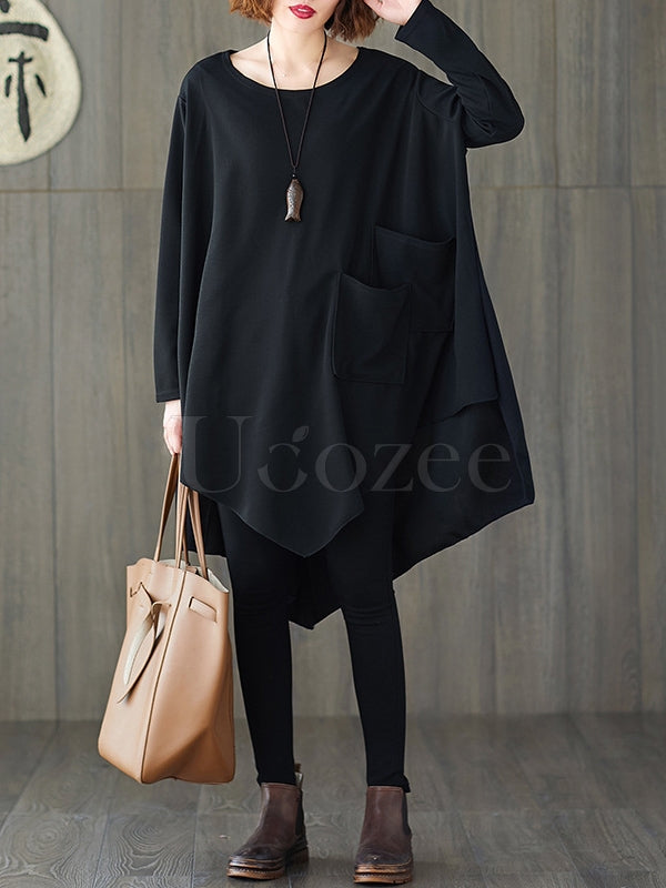 Loose Black Cropped Solid Long Sleeve T-Shirt