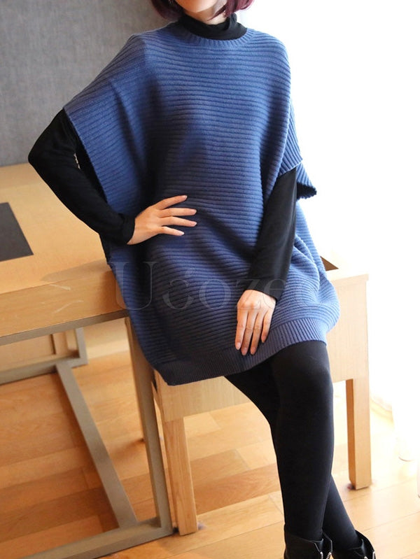 Casual Short Batwing Sleeve Midi Knitting Midi Dress