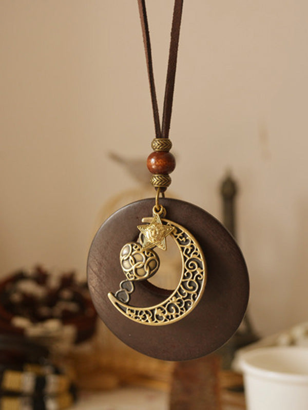 Vintage Ethnic Style Star Moon Long Necklace