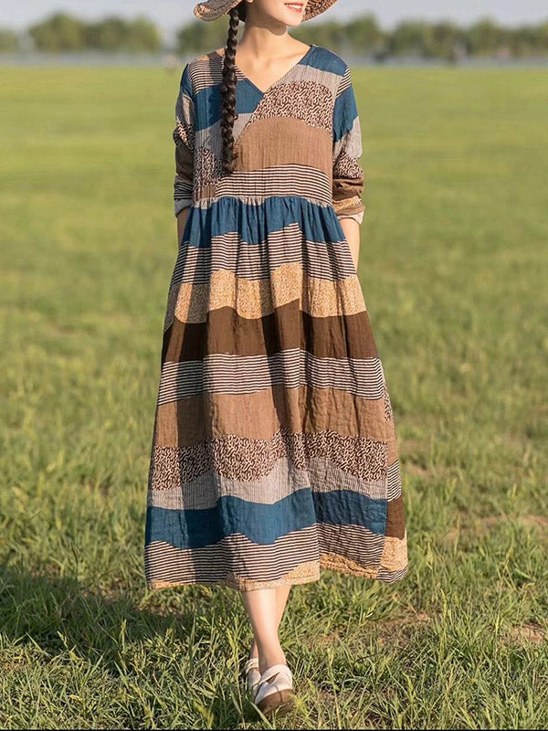 Colorful Stripe Printed Cotton Long Dress