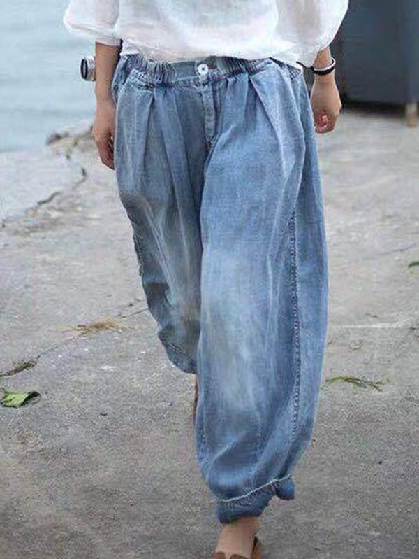 Loose Retro Denim Harem Pants