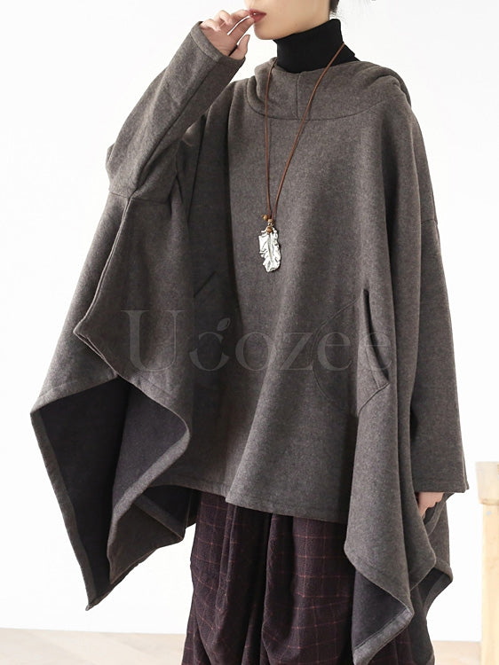 Loose Cropped Warm Hooded Cloak