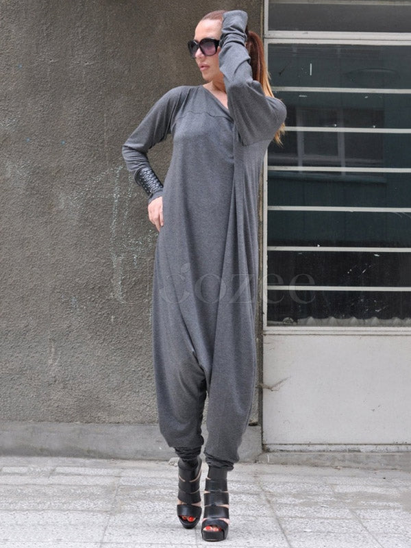 Gray Split-joint Long Sleeves Jumpsuits