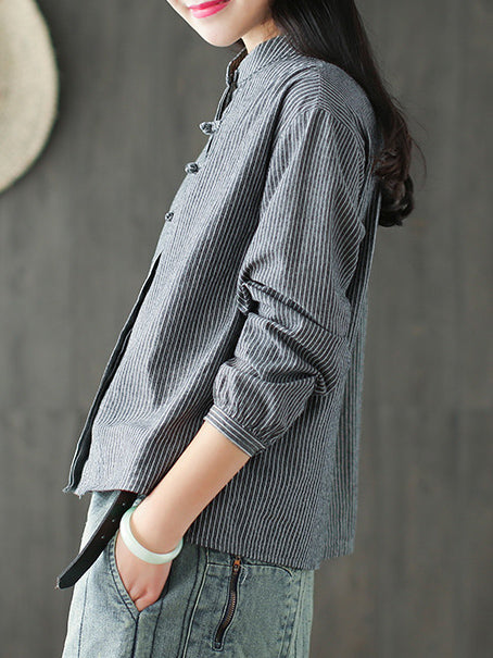 Loose Striped Botton Short shirt&Cover up