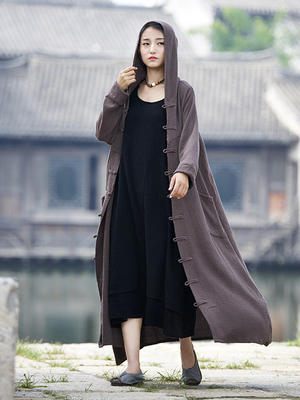 National Style Mistarious Linen Cape Coat