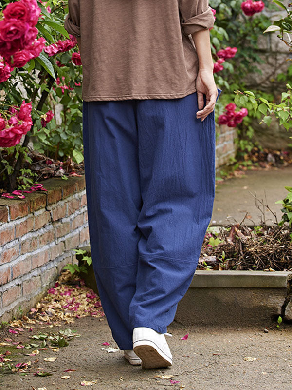 Navy-blue&Burgundy Split-joint Casual Linen Pants