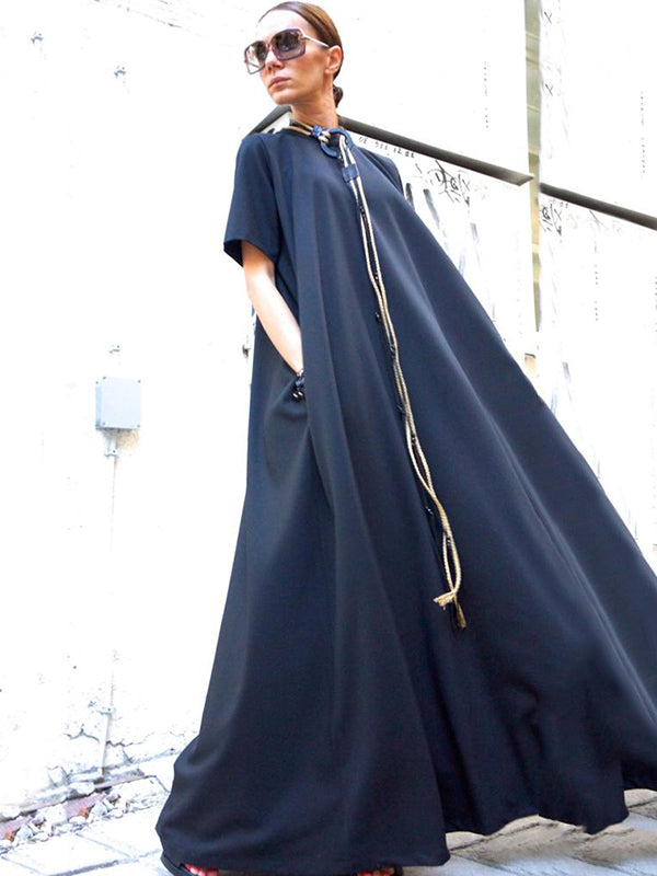 Loose Navy-blue Short Sleeves Maxi Dress