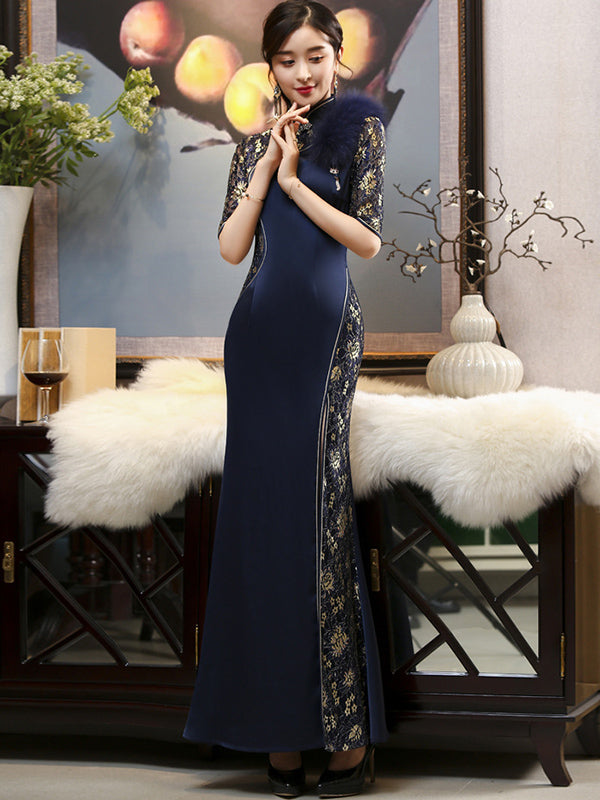 Spring Faux Fur Long Cheongsam Evening Dress