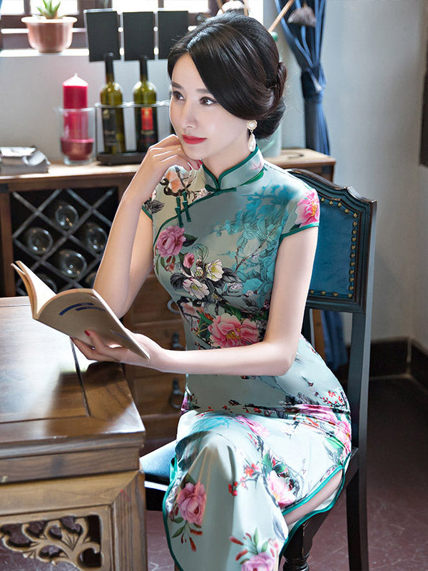Green Peony-print Split-side Long Cheongsam