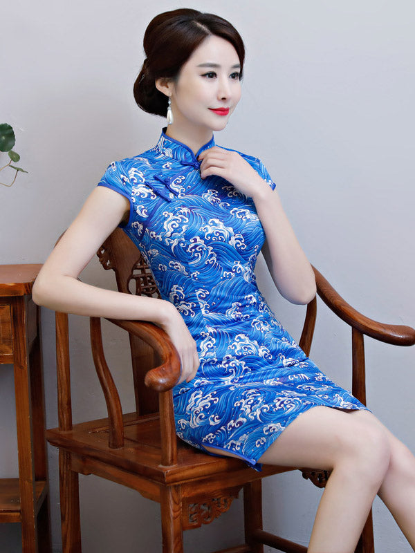 National Beauty  Tie-Dyed Stand Collar Short Cheongsam