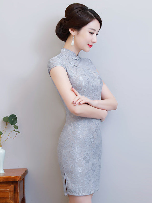 Gray Lace Split-side Short Cheongsam
